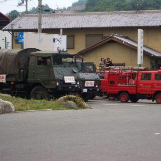 【ツーリング先の写真】消防車だけでなく、自衛隊まで出動してました。